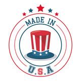 made in USA top hat flag emblem badge vector illustration - 145973679
