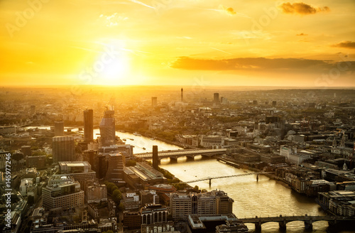 Beautiful sunset over of city London, England Poster