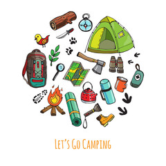 Set of hand drawn camping equipment symbols and icons