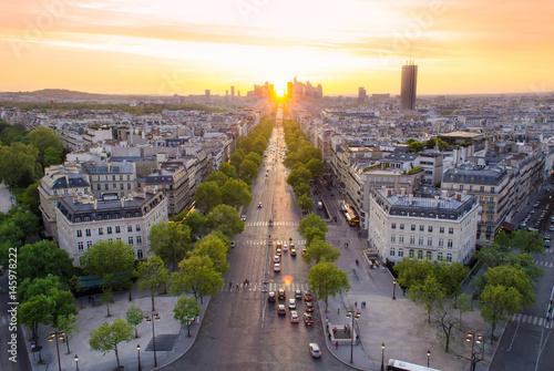 View of the La Défense and Champs élysées at Sunset - Paris, France Poster