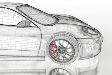 3D sport car on a white