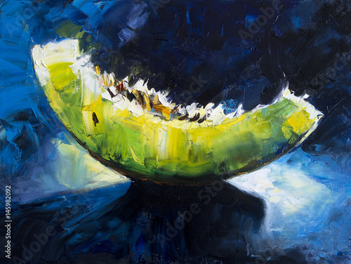 Art Oil-Painting Picture - Shine slice of Melon. Oil on canvas texture. Hand painted. Modern art. © shvets_tetiana