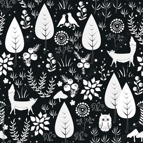 Materiał do szycia Wektor ładny wzór z lasu rośliny, ptaki i lisy sylwetki. Białe i czarne tło