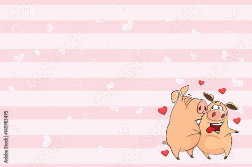 Deurstickers Babykamer Valentines card with Cute Pigs illustration
