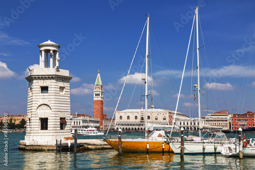 View of the Piazza San Marco, the lighthouse at the island of San Giorgio Maggiore and yachts at berth Poster