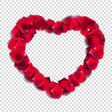 Abstract Natural Rose Petals Heart on Transparent Background Rea