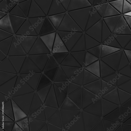 Abstract background of triangle polygons background. Black. 3D rendering - 145986695