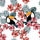 Tropical seamless pattern with colorful toucan,flower and leaf.Vector summer background.Textile texture - 145987435