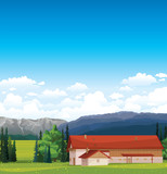 Rural landscape with house.