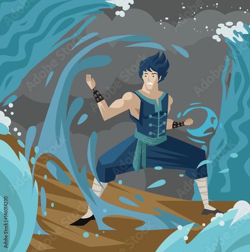 shaolin martial artist controlling water - 146014200