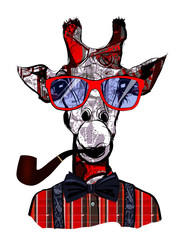 Giraffe with sunglasses in hipster style