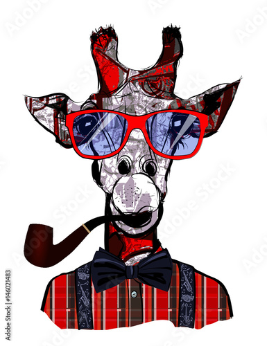 Deurstickers Art Studio Giraffe with sunglasses in hipster style