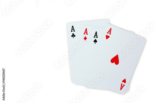 four aces poker playing cards isolated on white background Poster