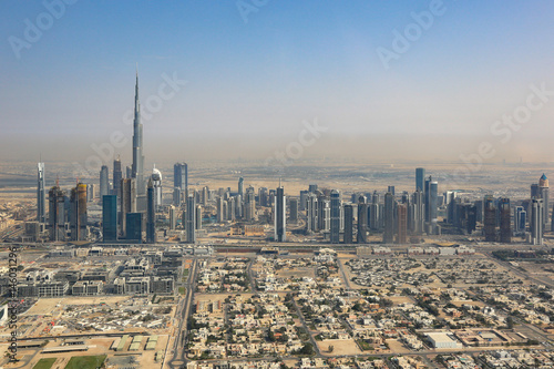 Dubai Skyline Burj Khalifa Luftaufnahme Luftbild Poster