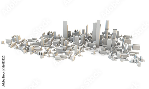 3d render of a city or town from above