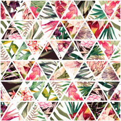 Tropical watercolor patchwork
