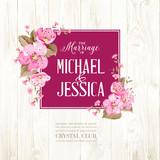 Wedding invitation with blossom cherry. Bridal shower invitation with wooden background. Vintage floral invitation for spring or summer bridal shower. Vector illustration.