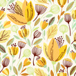 Vector floral pattern in doodle style with yellow flowers and leaves. - 146044018