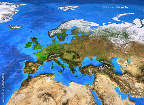 High resolution world map focused on Europe