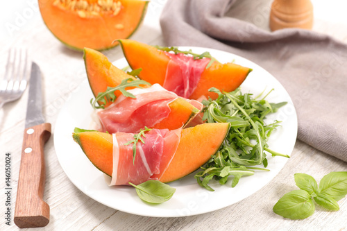 appetizer with prosciutto and melon Poster