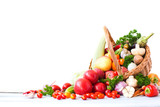 Basket with fresh vegetables and fruits. - 146064627