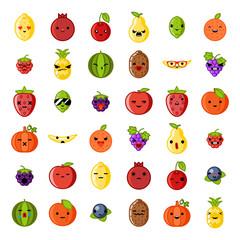 Cute emoji smile fresh fruit apple cherry watermelon kiwi strawberry lemon peach pear banana healthy food natural vitamins cartoon children characters flat design icons vector illustration