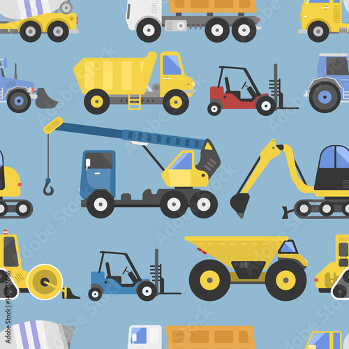 Materiał do szycia Construction equipment seamless pattern machinery with trucks flat yellow transport vector illustration