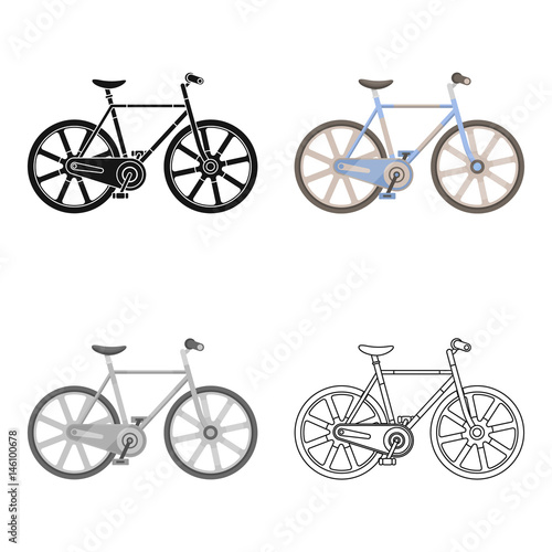Deurstickers Fietsen Sport bike racing on the track. Speed bike with reinforced wheels.Different Bicycle single icon in cartoon style vector symbol stock illustration.