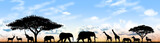 Animals of Africa. Silhouettes of wild animals of the African savannah - 146101068