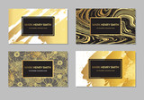 Fototapety Set of Black and Gold Design Business card. Abstract Modern Backgrounds.Brush stroke