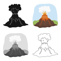 Volcano eruption icon in cartoon style isolated on white background. Dinosaurs and prehistoric symbol stock vector illustration.