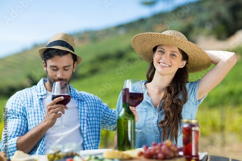 Smiling woman with red wine sitting by male friend at table Poster