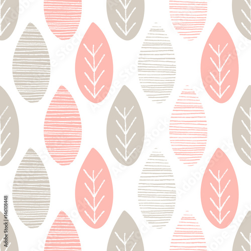 Cotton fabric Seamless pastel nature vector pattern. Grey and pink leaves with lines and twigs on white background. Hand drawn abstract spring ornament