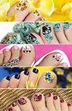 Разноцветный педикюр с дизайном на ногтях.