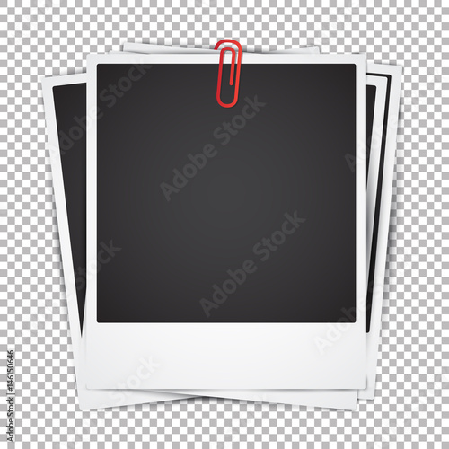 Set of Vector Instant Photo Frames. Photo realistic vector Mockup on transparent background. Vintage paper Photo Frame Template for your photos or project. Retro style design element