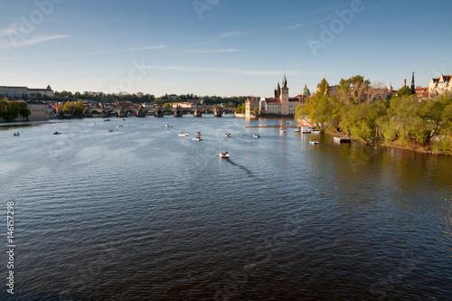 Poster Vltava river in Prague before sunset