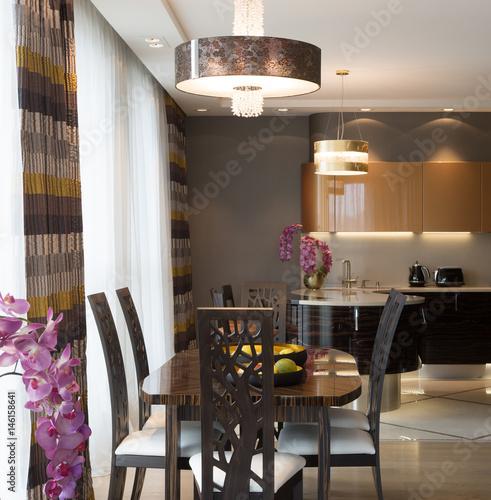 Modern flat interior, studio. Guest room, Kitchen, Dining room. Poster