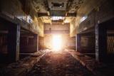 Corridor in abandoned factory building