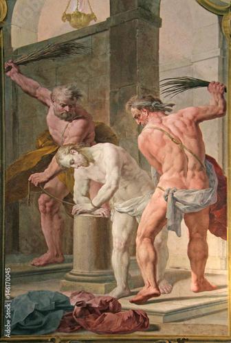 Cristo flagellato; affresco di Biagio Bellotti nella Certosa di Garegnano; Milan Poster