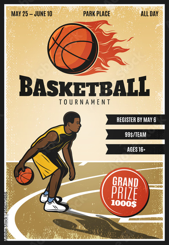 Colored Vintage Basketball Championship Poster