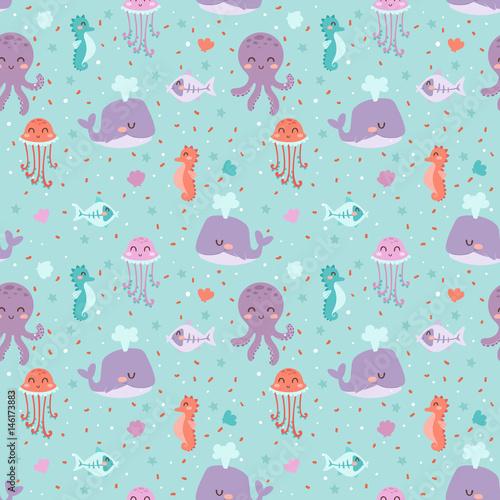 Cotton fabric Sea animals seamless pattern fish corals starfish shells jellyfish aquarium colorful vector illustration.