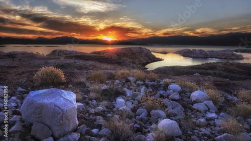 Poster Oceanië Lake Mead Sunrise