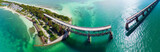 Bahia Honda Bridge panoramic aerial view on Overseas Highway - Florida