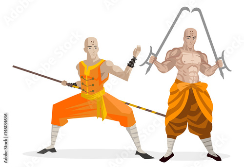 two bald shaolin monks warriors training with bo staff and twin hooks swords - 146184636