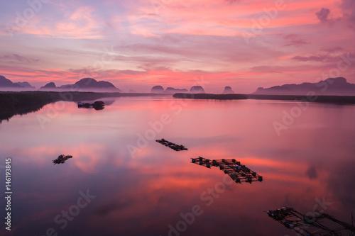 Aluminium Rock mountain in sunrise time at Phang-Nga bay southern of Thailand