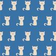 seamless pattern cute pastel white cat - 146197294