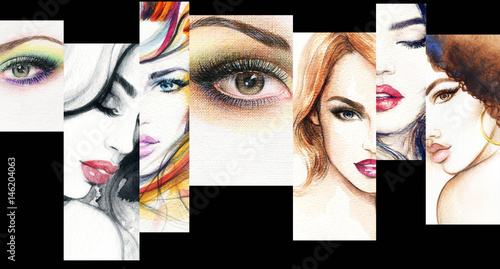 Collage. Make up. Beautiful woman. Fashion illustration.