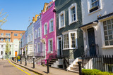 Fototapety Pastel colored restored Victorian British houses in an elegant mews in Chelsea, London, UK