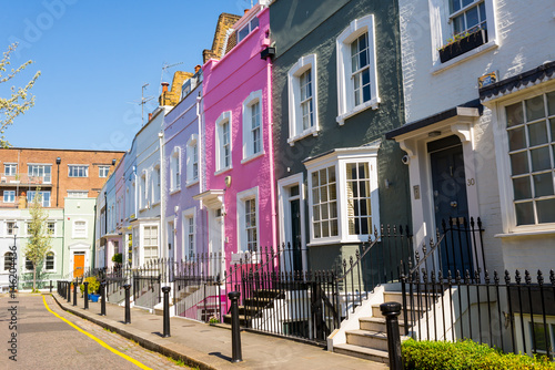 Pastel colored restored Victorian British houses in an elegant mews in Chelsea, Canvas Print