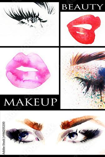 Collage. Make up. Beautiful woman. Fashion illustration.